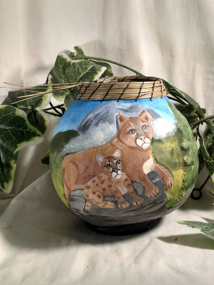 Excited to share the latest addition to my #etsy shop: Majestic Cougar and Cub Hand Carved Hand Painted on Gourd~Inlaid Pyrite~Relief Carved~Pine Needle Top~Unique Gift~ http://etsy.me/2mUae6G #housewares #bowl #birthday #valentinesday #entryway #gourd #gourdart #handp