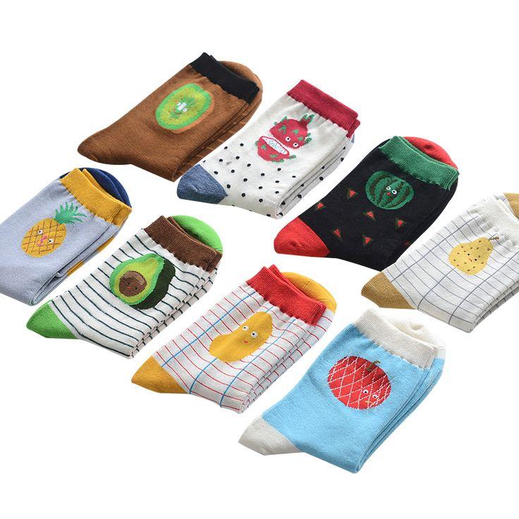 Brand fashion creative fruits patterns tide cotton socks for women cute apple watermelon pineapple stripes socks