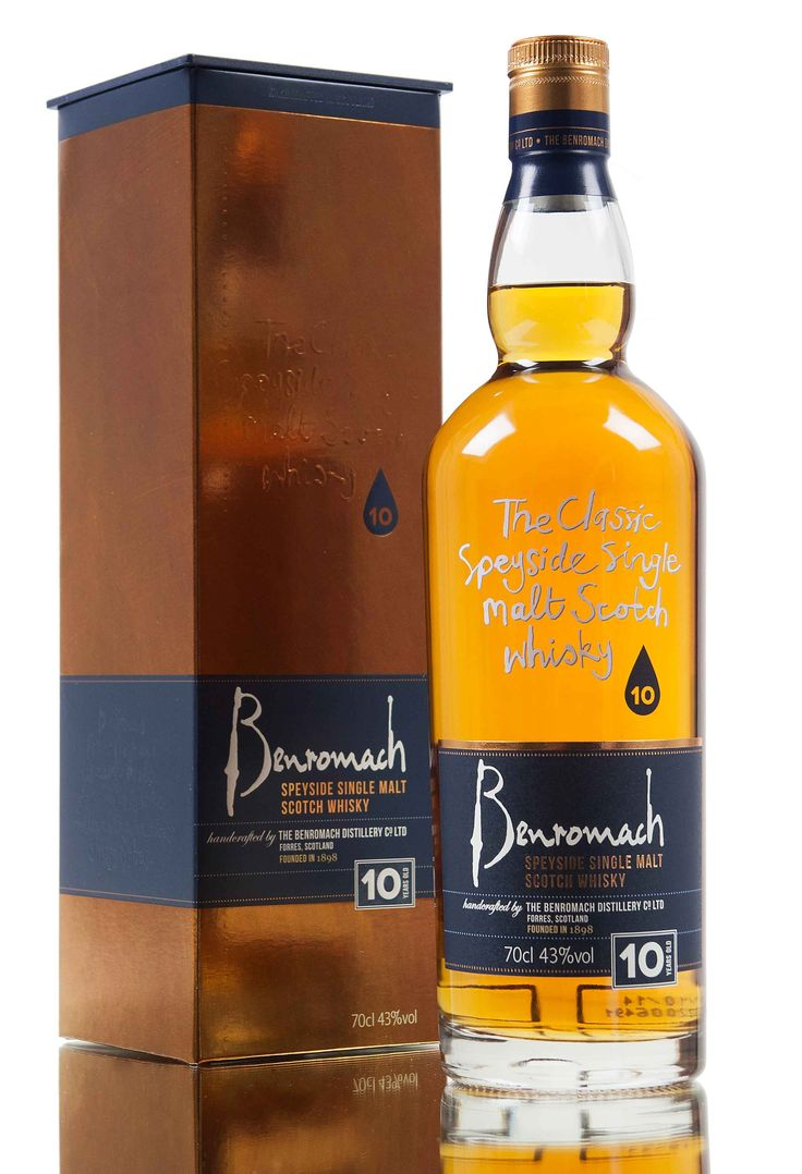 A 10 year old release from Benromach distillery, created from 80% bourbon barrels, 20% sherry hogsheads with the final year spent in first fill Oloroso casks. Benromach Distillery is owned by Gordon & MacPhail and since launching this 10 year old whisky it has received many awards, including a gold at the 2014 World Whisky Awards (WWA).