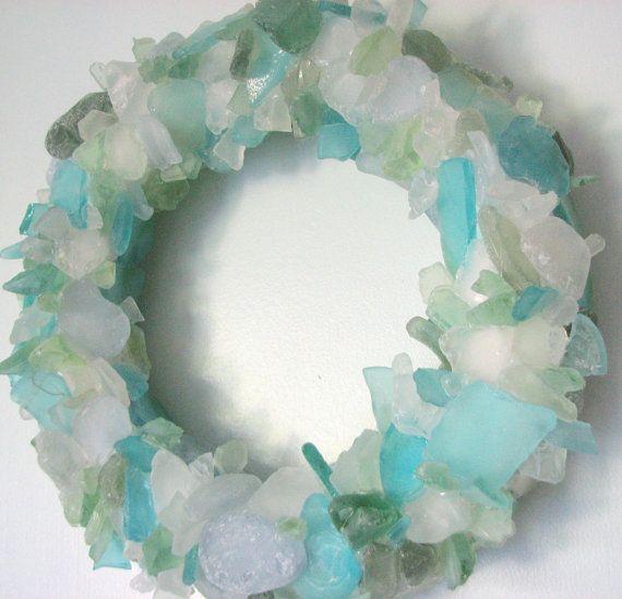Beach Decor Sea Glass Wreath - Beach Glass Wreath for Table or Wall
