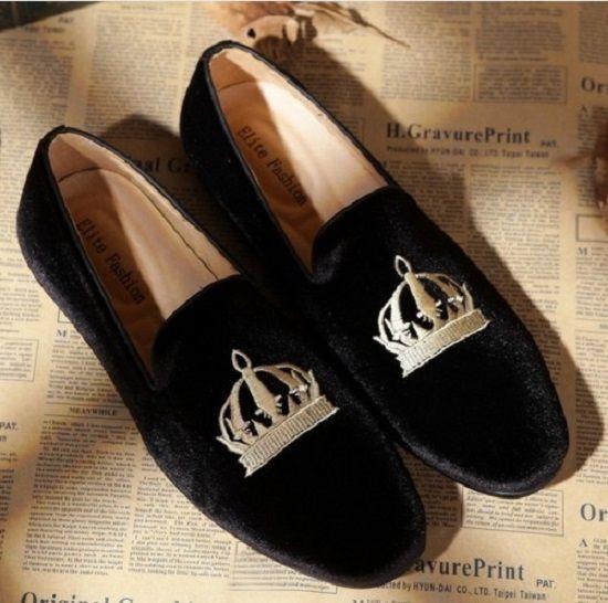 HANDMADE VELVET LOAFER FOR MEN, MEN LEATHER VELVET SHOES, CROWN EMBROIDERED SHOE - Slippers #ShoesForMen