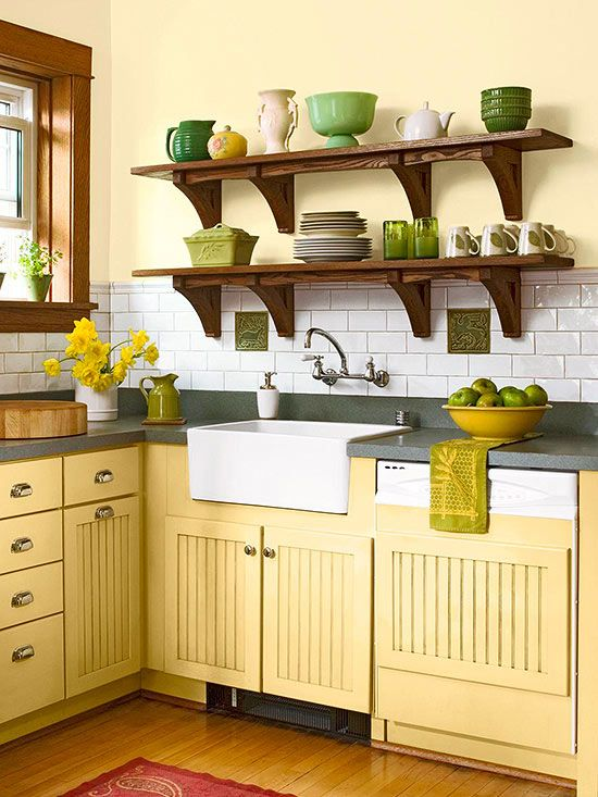 "Complete the Scheme ""I like yellows that have subtle reddish or brown undertones,"" Marlaina says, because they're more compatible with other colors. Here, honey yellow compliments the wood and helps the green accents to sing."