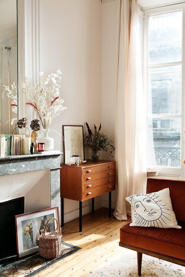 Chic Living Room Corner Artsy Minimal Bohemian Whitewalls Tallmirror