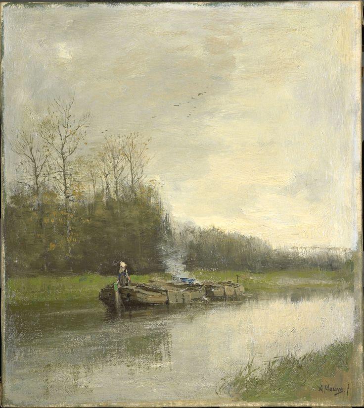 Anton Mauve, Barge Canal. 1888