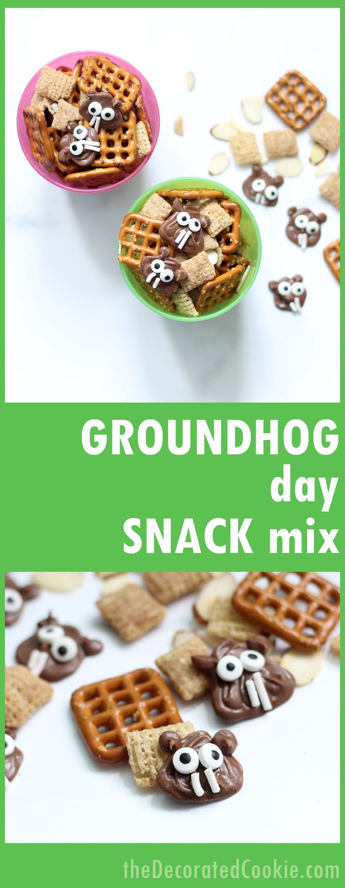 Groundhog Day snack mix! Cute and fun treat for groundhog day. Great classroom treat idea. Fun food.