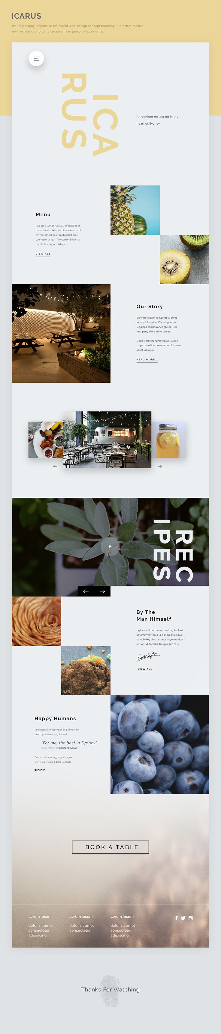 Icarus is a fully responsive restaurant web-design concept featuring interactive menu's, reviews and chef bio's to create a more personal experience.