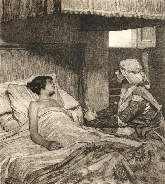 Giovanna Tending to Her Son by Tito Lessi, Antique 10x12 Sepia Engraving c1890s, From The Decameron by Giovanni Boccaccio, FREE SHIPPING $11.75