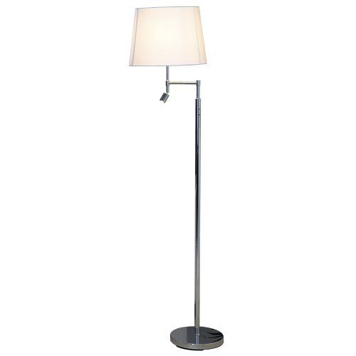 Silver dual 360 degree swing arm floor lamp with a for Floor lamp with dual reading lights