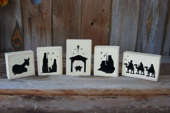 5 piece wooden Nativity Set - with Vinyl Lettering, christmas home decor, on Etsy, $13.50