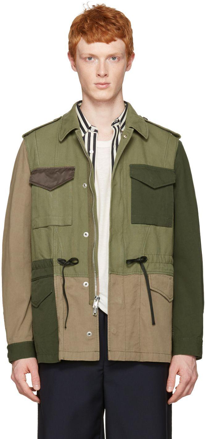 3.1 Phillip Lim: Green Patchwork Field Jacket | SSENSE