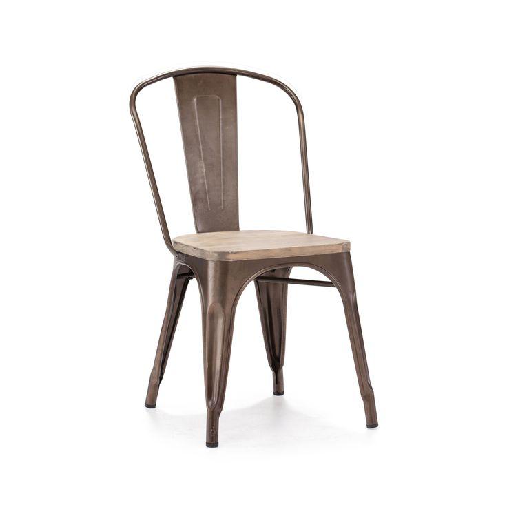 Dreux Steel Stackable Rustic Matte + Light Elm Wood Seat Side Chair (Set of 4)