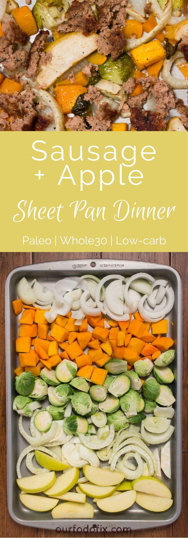 An entire fall dinner made entirely in one pan. Paleo recipes | Whole30 recipes | Dinner recipes | One pan meals | Quick dinner | Fall recipes | Easy meals | Pork recipes | Vegan option | Vegetable recipes | Simple recipes