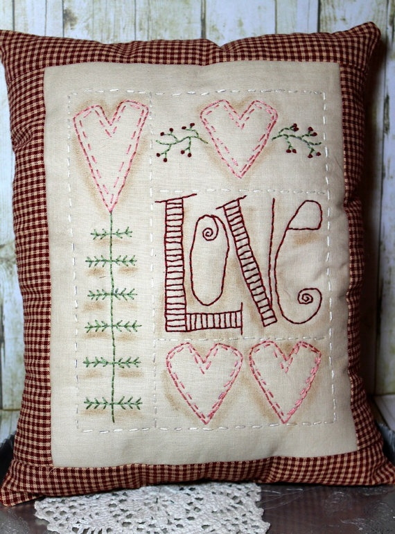 Handmade Primitive Valentine Heart Sampler Pillow
