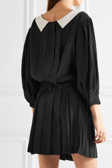 Miu Miu - Embellished Two-tone Pleated Satin Mini Dress - Black - IT44