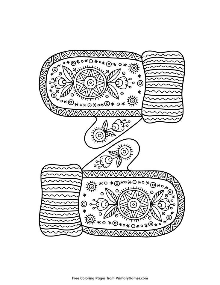 Warm Knitted Mittens Coloring Page • FREE Printable eBook