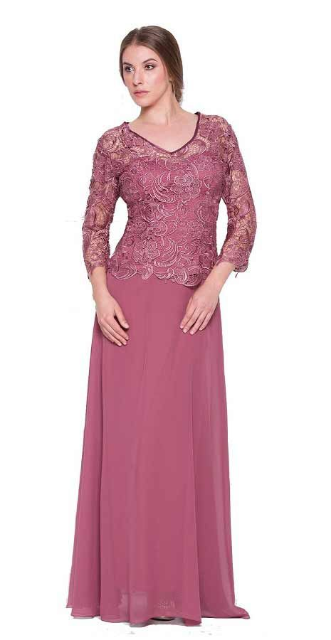 Unique rosewood lace applique long sleeve mother of the bride / Mother of the groom formal gown