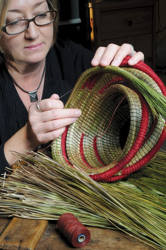 Basketry artist Deborah Muhl at work. Deborah used to be local in Pa. But has moved south. Her work is beautifully crafted