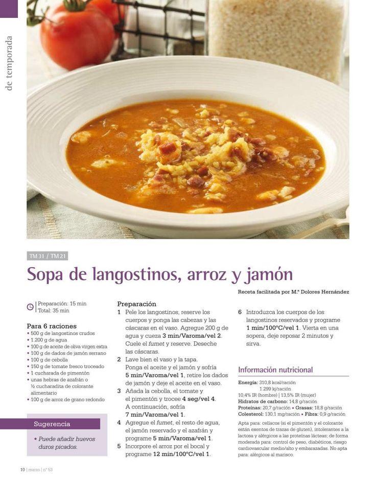 Sopa de langostinos, arroz y jamon