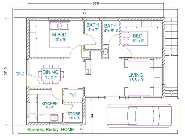 Best 25 2bhk house plan ideas on pinterest two bedroom for In law addition plans