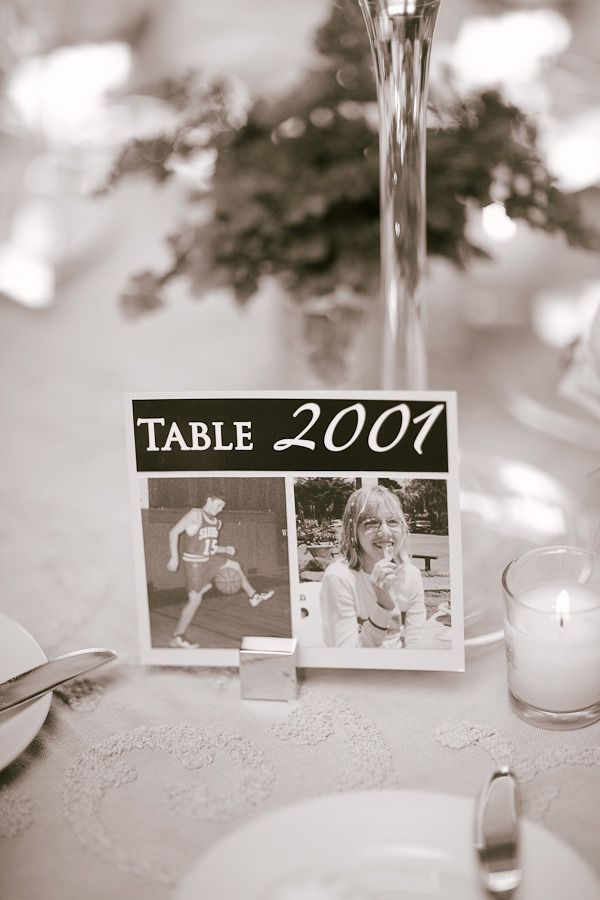 Years as table numbers, with pictures of the couple from that year. Awesome idea!