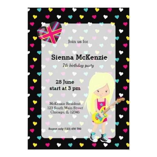 120 best karaoke birthday party invitations images on pinterest rockstar party card stopboris Gallery