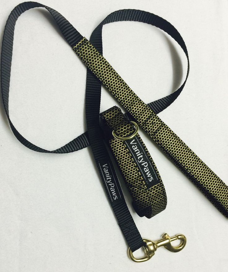 A personal favourite from my Etsy shop https://www.etsy.com/au/listing/277636790/black-and-gold-dog-collar-lead-set