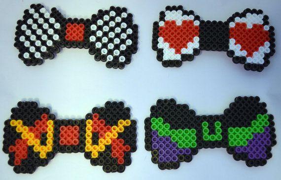 8 Bit Pixel Disney Villians hair bows or bow ties: Queen of Hearts/Ursela/Cruella De Ville/Jafar/Maleficent perler/hamas/fused beads