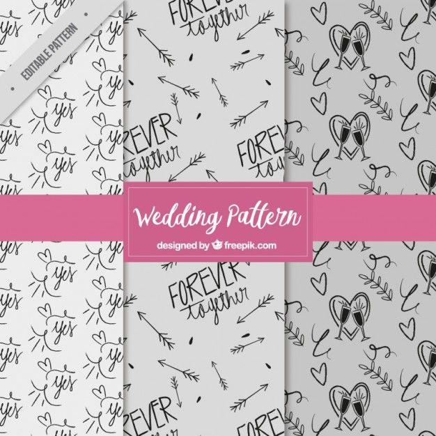 Ручной обращается узоры веселые свадьбы Вектор | Скачать