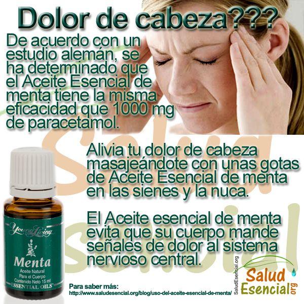 Uso del Aceite Esencial de Menta contra el dolor de cabeza