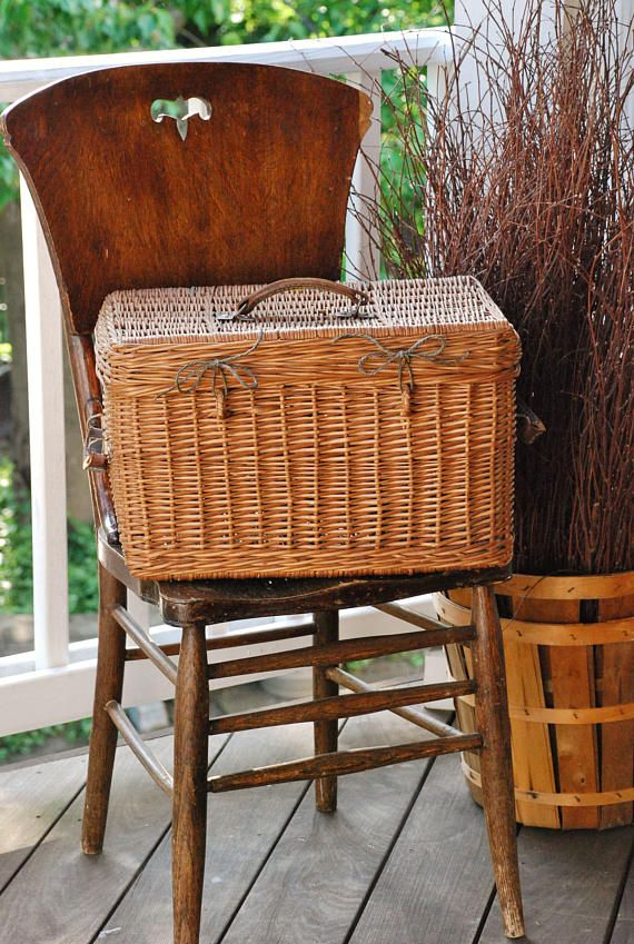 FREE SHIPPING!! - Vintage Wicker Storage Basket - Rustic Farmhouse Picnic Basket w/Leather Handles - Woodland Wedding Card Box - Photo Prop