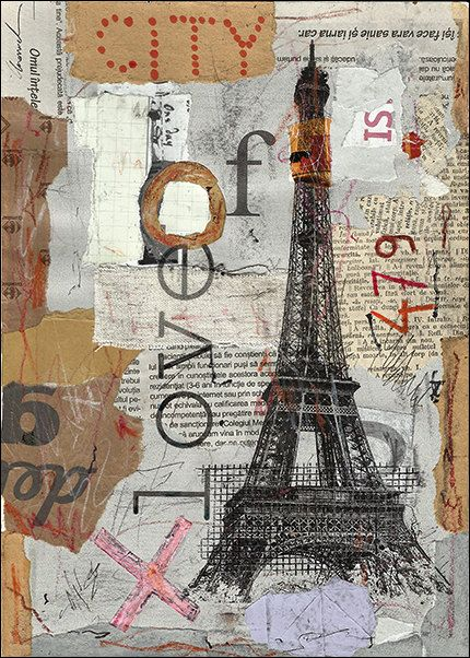 Eiffel Paris City Fine Art PRINT Illustration Gift Collage Mixed Media Painting By Mirel E.Ologeanu