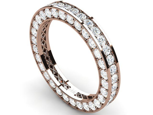 Full Pave Eternity Diamond Ring 18k Rose Gold 2.72 ct Vs1/H - Paul Jewelry