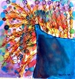 watercolor peacock - so fun!