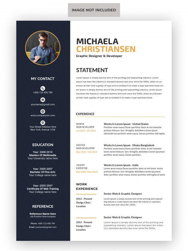 Professional Cv Resume Template Premium Psd Cv Resume Template Resume Template Microsoft Word Resume Template