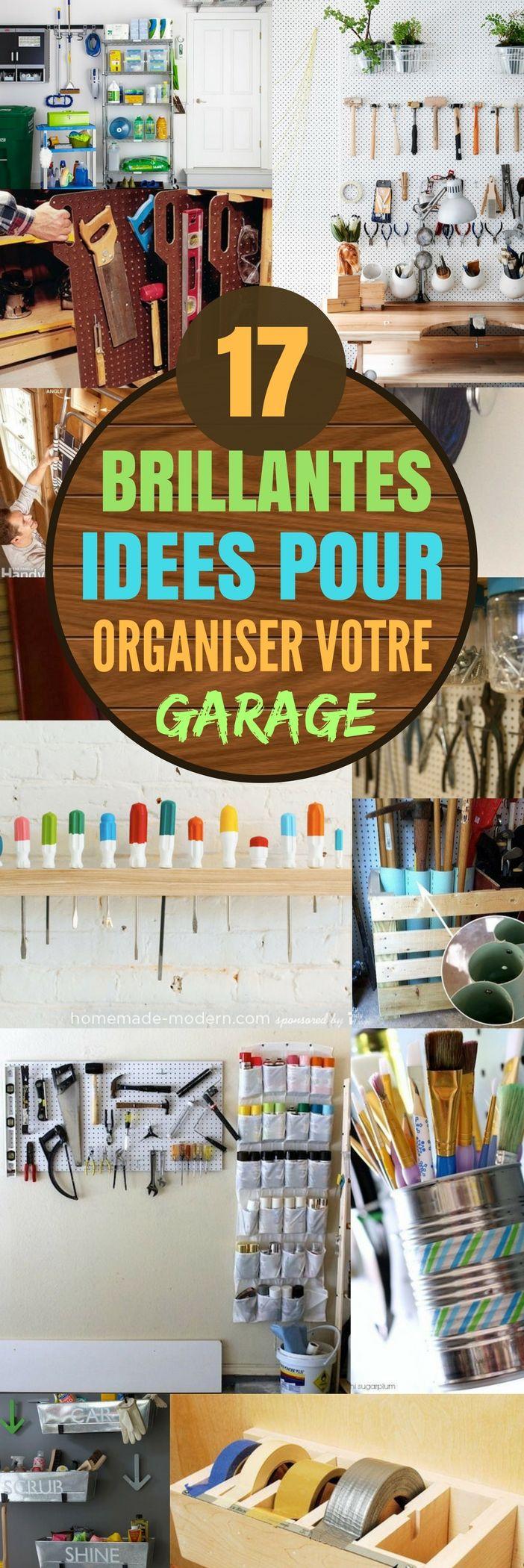 Les garages c'est souvent…comment dire…juste très mal organisé. Et le mien n'est pas différent ! On a l'impression qu'il y a tellement de choses dedans que c'est impossible de tout nettoyer et ranger !  Mais en parcourant le web, j'ai trouvé des idées vraiment géniales pour organiser très facilement son garage ! Essayez-en quelques-unes, et votre garage sera fonctionnel en un rien de temps. Bonne chance ! #garage #astuces #trucs #trucsetastuces #rangement #organisation #idéesinterieur