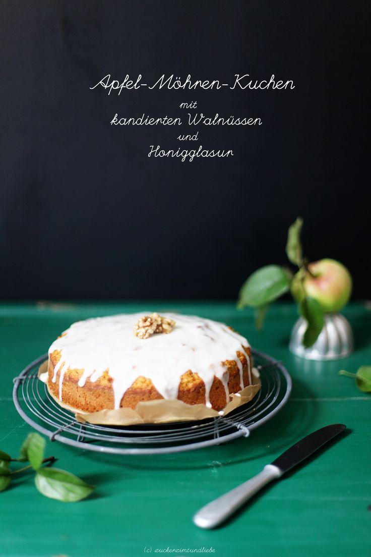 Apfel Möhren Kuchen mit kandierten Walnüssen und Honig Glasur Rezept (Apple Carrot Cake with candied walnuts and honey glaze)