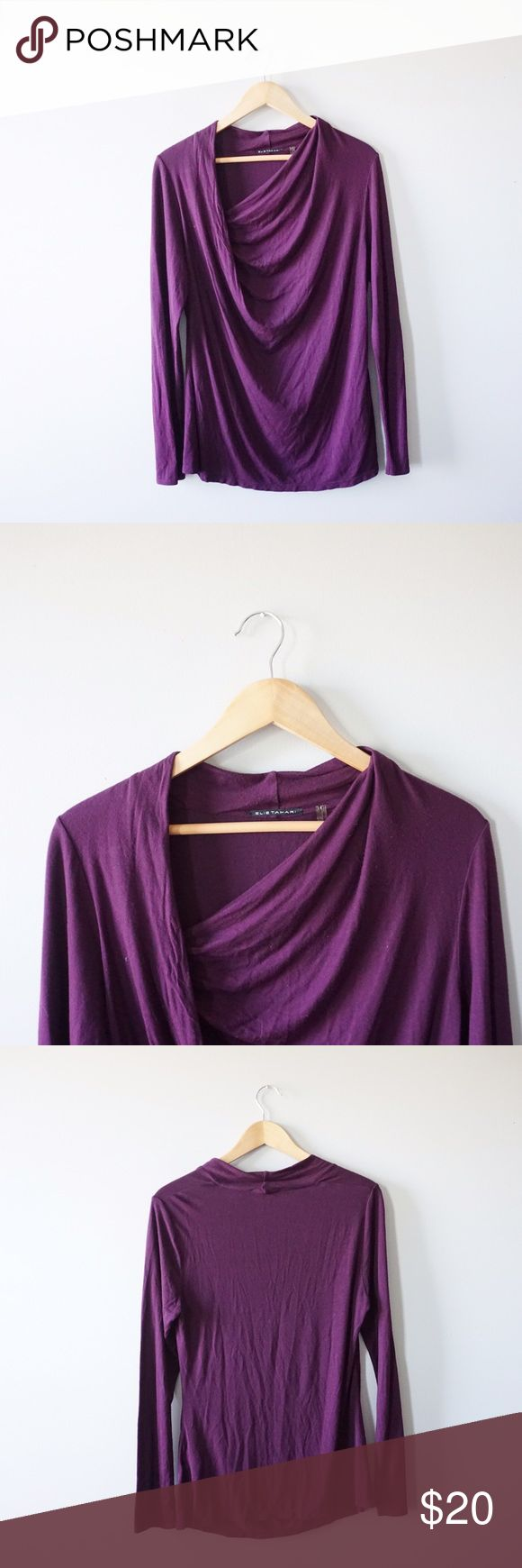 Elie Tahari Soft Draped Blouse Ellie Tahari purple draped blouse size large. Very soft. Long sleeves. Minor pilling. No stains rips or tears. Elie Tahari Tops Blouses