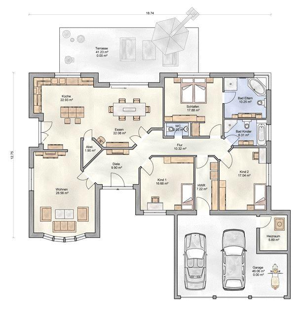Massivhaus bungalow  Die 25+ besten Winkelbungalow grundriss Ideen auf Pinterest ...