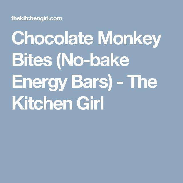 Chocolate Monkey Bites (No-bake Energy Bars) - The Kitchen Girl