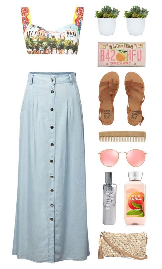 """Exotic Beauty"" by lover-of-pie ❤ liked on Polyvore featuring Dolce&Gabbana, Chicnova Fashion, Billabong, Paul's Boutique, Ray-Ban and Straw Studios"