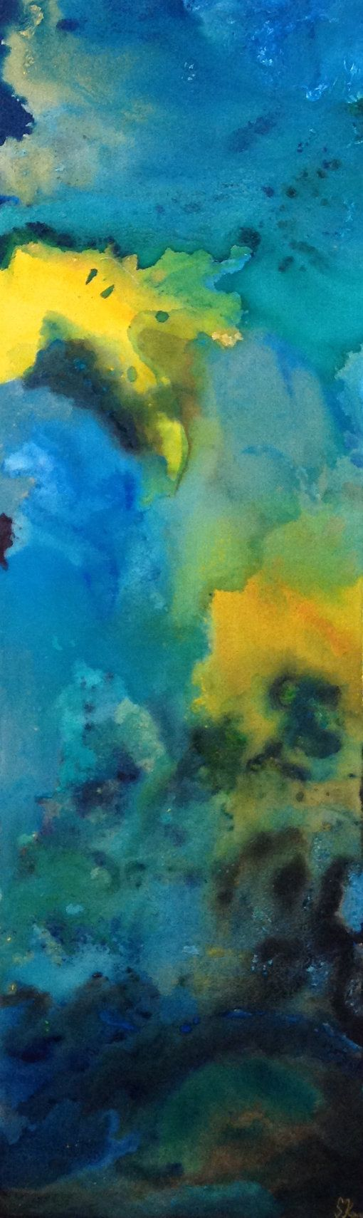 Jealous Mood  Abstract Acrylic on Canvas 36x 12 by LillyBoChic