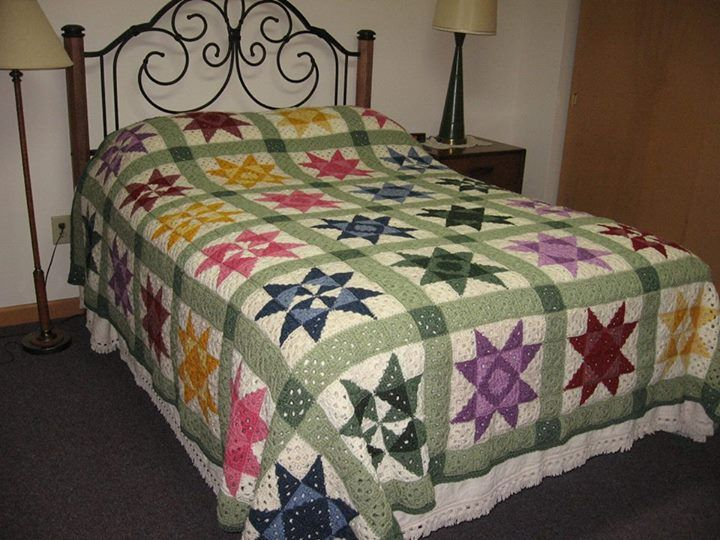 Book Cover Crochet Quilt Pattern : Quilt style bed cover of granny squares beautifully