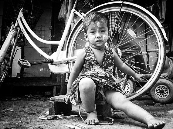 Myawaddy, Myanmar - Travel - Photography - Wall Art - Home Decor - Black and White - Children on Etsy, $28.00