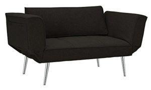 Premium Black Futon/sofa Sleeper Couch with Twill Fabric, Chrome Legs