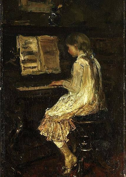 Girle at the Piano, 1879, by Jacob Maris