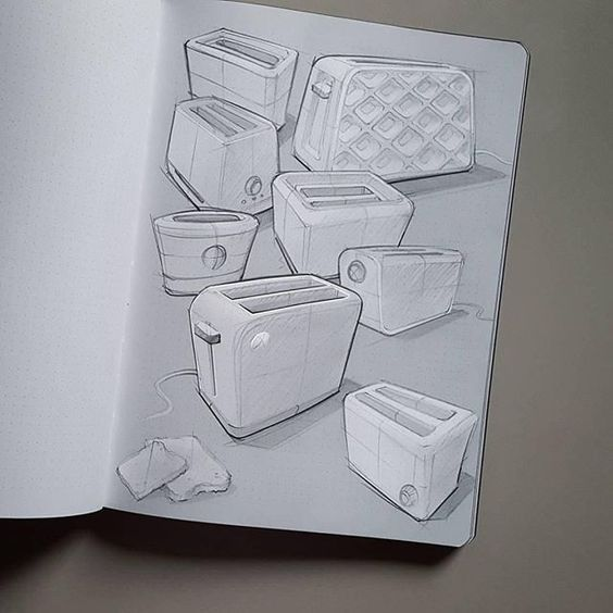 Product design (toaster) Sketches from Marius Kindler @mxrxvs Get inspired!
