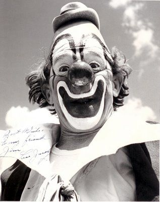 Lou Jacobs was an auguste clown who performed for Ringling Bros. and Barnum & Bailey Circus for more than 60 years. He was inducted into the International Clown Hall of Fame in 1989. He is credited with popularizing the clown car, which has been a staple of circus clown acts ever since. He is also often cited as the originator of the red rubber ball nose, which is used by many clowns today. He was the first living person to have his portrait appear on an American postage stamp.
