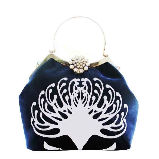 SQ Diamond clip Clutch evening bag in Royal blue eco velvet with Pebble grey Pincushion www.suziequ.co.uk