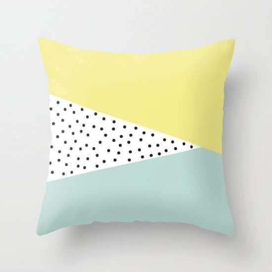 18x18 in decorative pillow cover triangles polka dots mint lime yellow