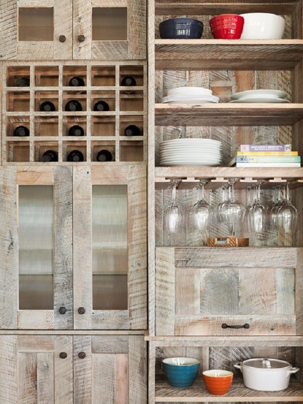 primitive decorating ideas with old wooden pallets | Pallet wood kitchen cabinets